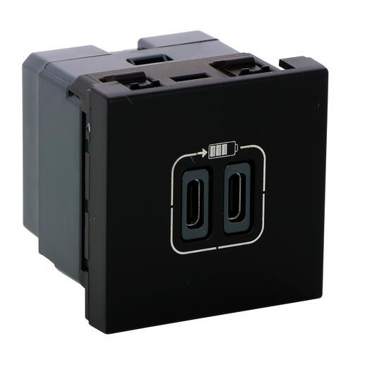 Chargeur 2 USB Type-C 3A 5V= 15W Mosaic 2 modules 230V - noir mat