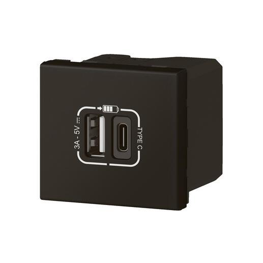 Chargeur USB Type-A + USB Type-C 3A 5V= 15W Mosaic Link raccordement latéral 2 modules 230V - noir mat