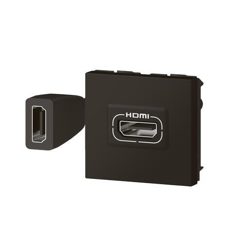 Prise HDMI Type-A version 2.0 préconnectorisée Mosaic 2 modules - noir mat