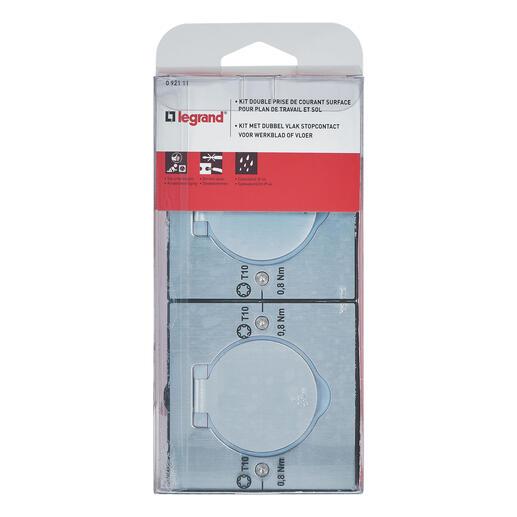 Double prise de sol inox étanche IP44 clapet de protection + boite à encastrer