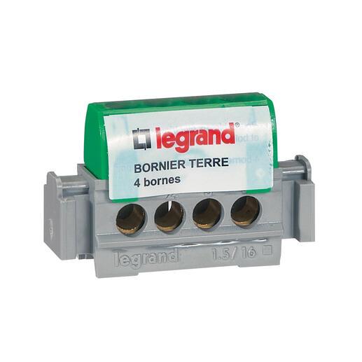 Bornier de terre - 4 bornes pour câble 1,5 à 16 mm² - vert