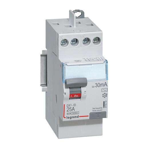 Interrupteur différentiel bipolaire - type AC 30mA arrivée haut/départ haut 25A