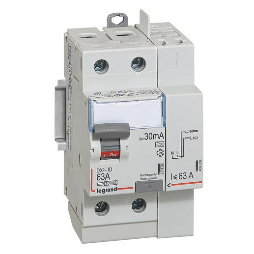 Interrupteur différentiel bipolaire - type A 30 mA arrivée haut/départ haut 63 A