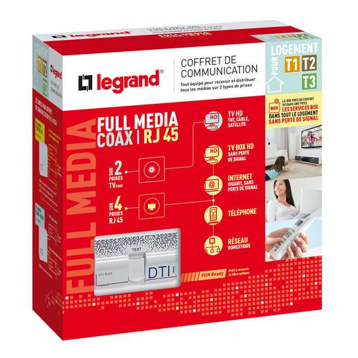 Coffret de communication Full Media coaxial et RJ45 pour T1 à T3 pour distribuer tous les médias sur 2 types de prises