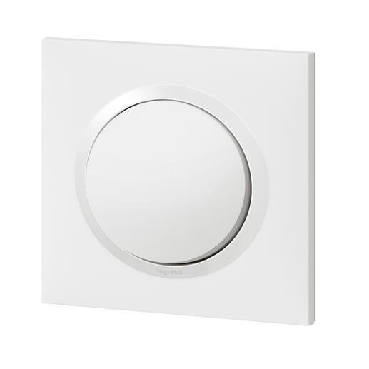 Interrupteur ou va-et-vient dooxie 10AX 250V~ livré avec plaque carrée blanche