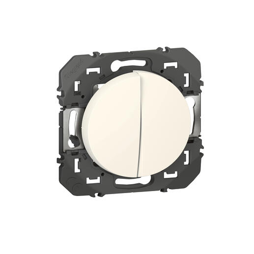 Double interrupteur ou va-et-vient dooxie 10AX 250V~ finition blanc - emballage blister