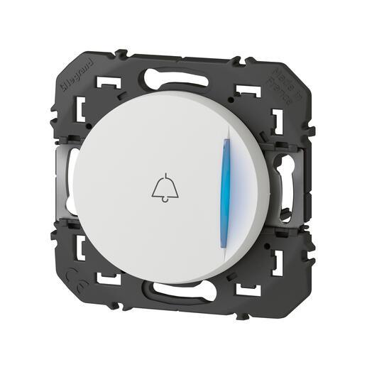 Poussoir simple avec voyant lumineux et marquage sonnette dooxie 6A 250V~ finition blanc - emballage blister
