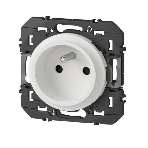 Prise de courant easyréno 2P+T faible profondeur dooxie 16A finition blanc - emballage blister