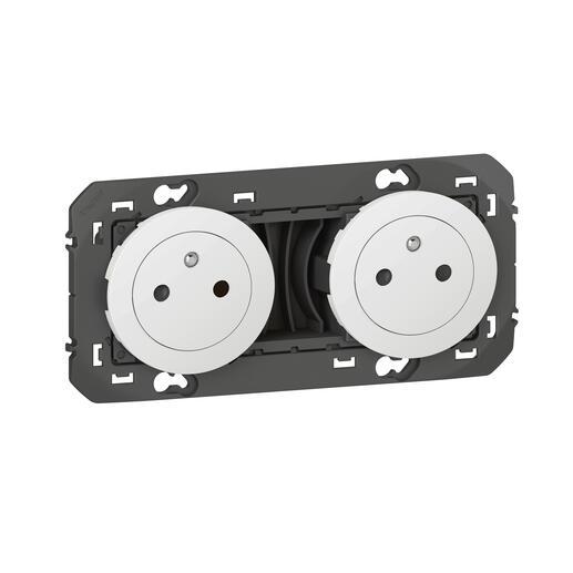 Double prise de courant 2P+T Surface dooxie 16A précâblées finition blanc - emballage blister