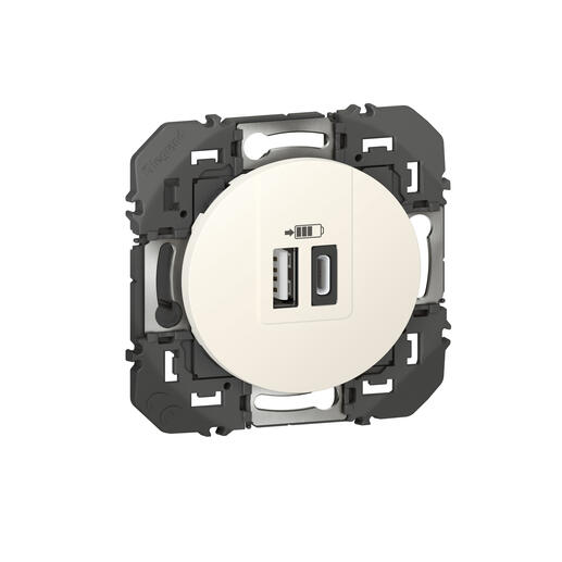 Double chargeur USB Type-A + Type-C dooxie 3A finition blanc - emballage blister