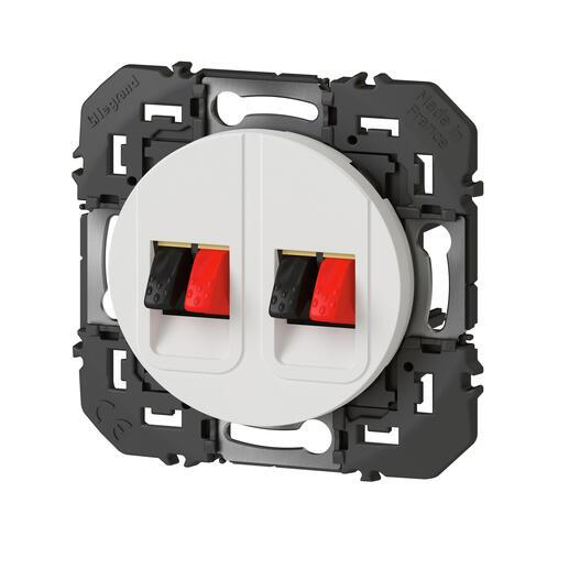 Prise haut-parleur double dooxie finition blanc - emballage blister