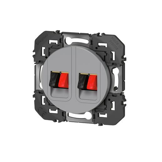 Prise haut-parleur double dooxie finition alu - emballage blister
