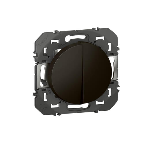 Double interrupteur ou va-et-vient dooxie 10AX 250V~ finition noir - emballage blister
