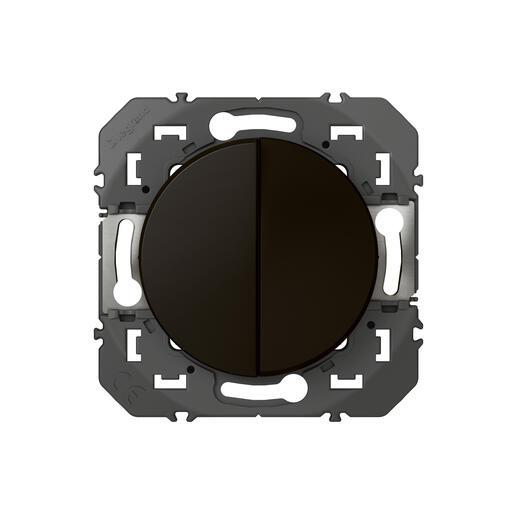 Poussoir double dooxie 6A 250V~ finition noir - emballage blister