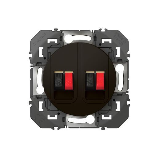 Prise haut-parleur double dooxie finition noir - emballage blister