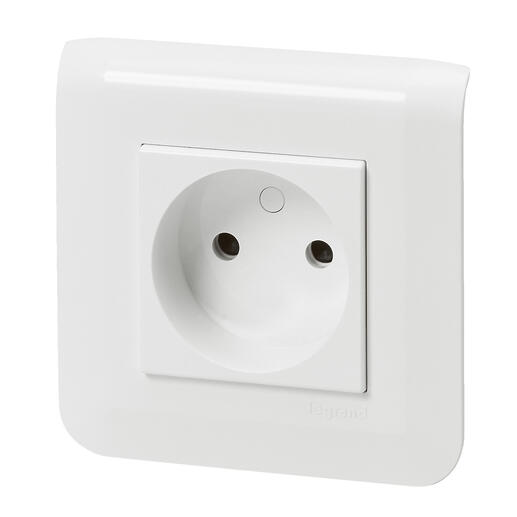 Prise de courant sans terre Mosaic à bornes automatiques blanc avec plaque et fixation à vis