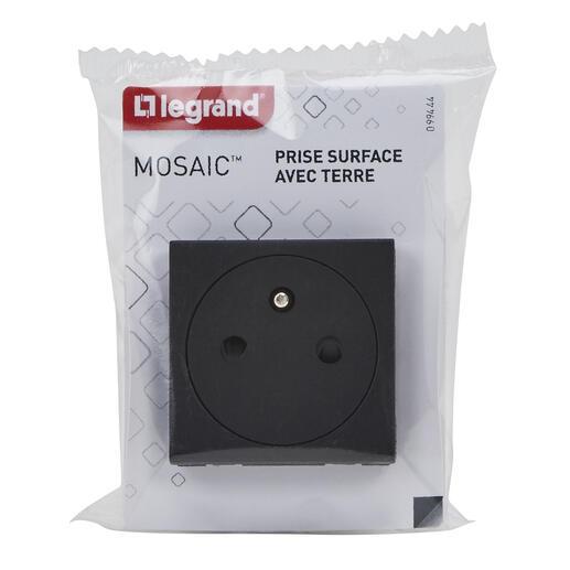 Prise de courant Surface Mosaic 2 modules - noir mat