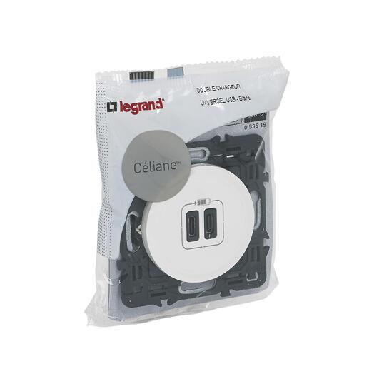 Double chargeur USB Céliane Type-C 3A 15W - Blanc