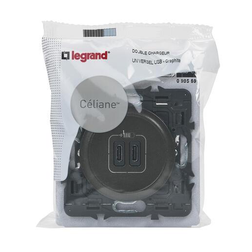 Double chargeur USB Céliane Type-C 3A 15W - Graphite