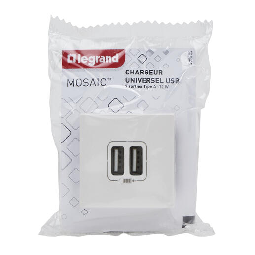 Double chargeur USB Type-A Mosaic 2,4A 2 modules - blanc