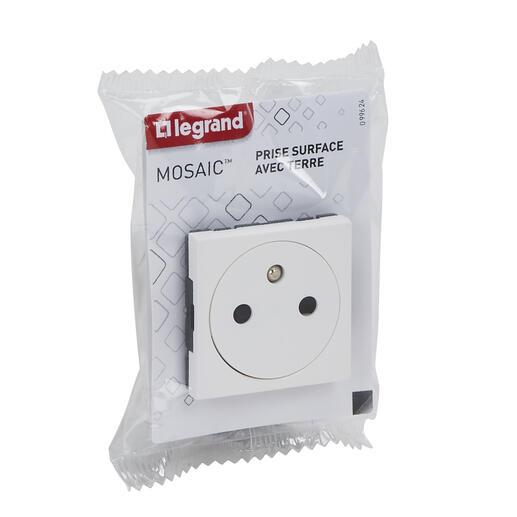 Prise de courant Surface Mosaic 2 modules - blanc