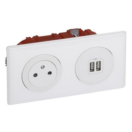 Prise de courant + chargeur 2 USB avec plaque Céliane +boite à encastrer - Blanc