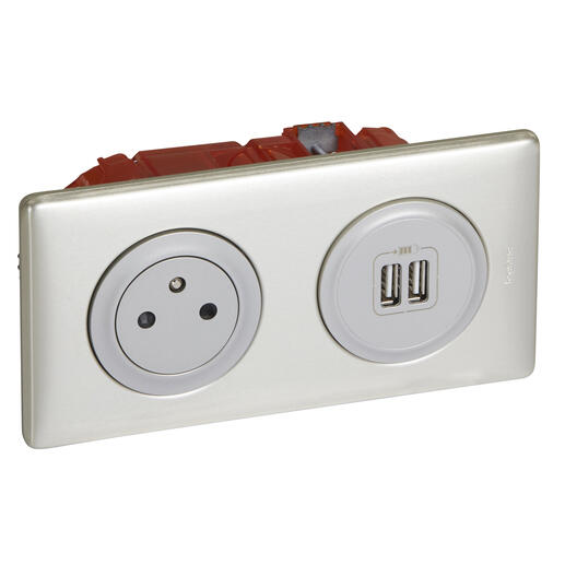 Prise de courant + chargeur 2 USB avec plaque Céliane +boite à encastrer -Titane