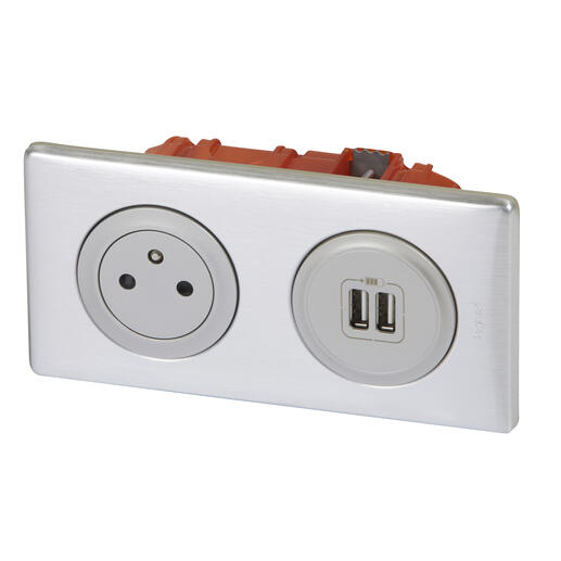 Prise de courant + chargeur 2 USB avec plaque Céliane + boite à encastrer - Alu