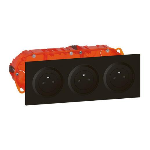 Kit triple prise de courant 2P+T Surface dooxie 16A précâblées finition noir