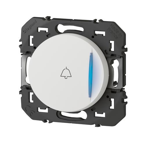 Poussoir simple avec voyant lumineux et marquage sonnette dooxie 6A 250V~ finition blanc