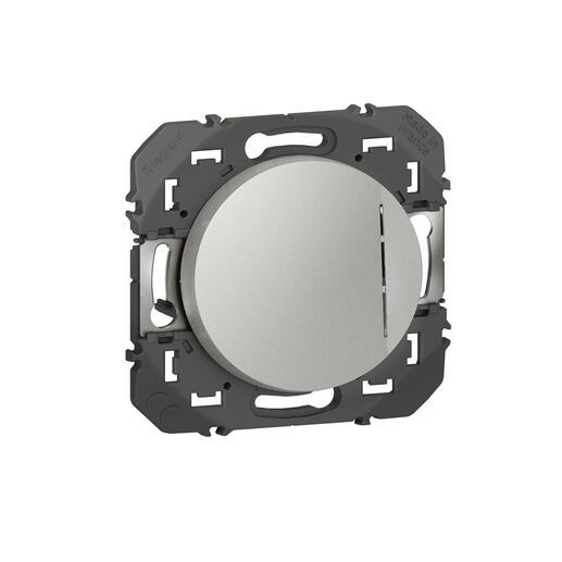 Interrupteur ou va-et-vient avec voyant lumineux dooxie 10AX 250V~ finition alu