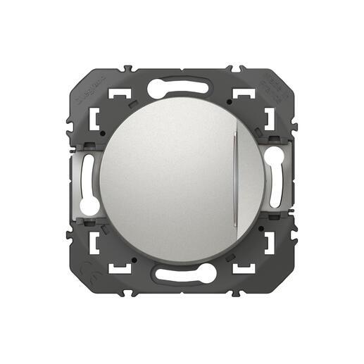 Poussoir simple avec voyant lumineux dooxie 6A 250V~ finition alu
