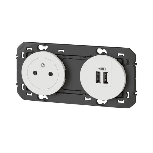 Prise de courant 2P+T Surface + chargeur 2 USB Type-A dooxie 3A précâblés finition blanc