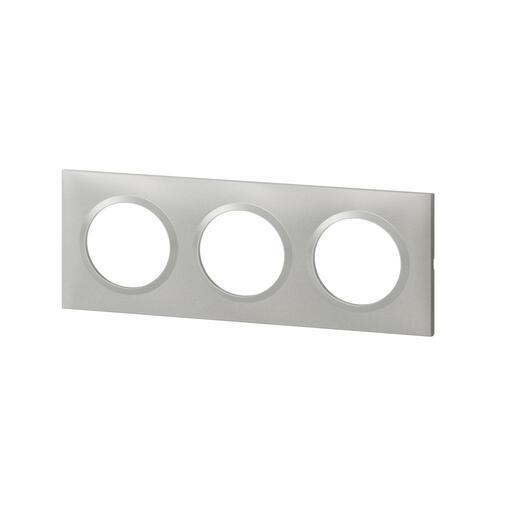 Plaque carrée dooxie 3 postes finition effet aluminium