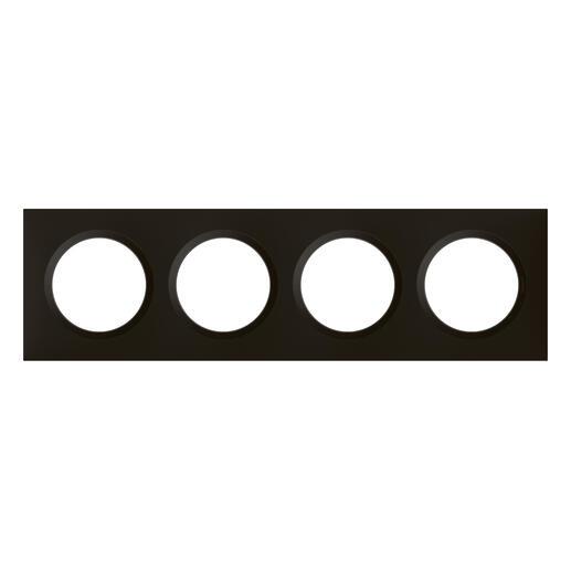 Plaque carrée dooxie 4 postes finition noir velours