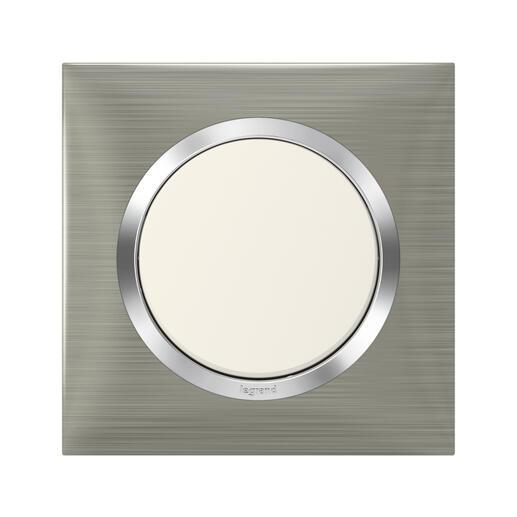 Plaque carrée dooxie 1 poste finition effet inox brossé