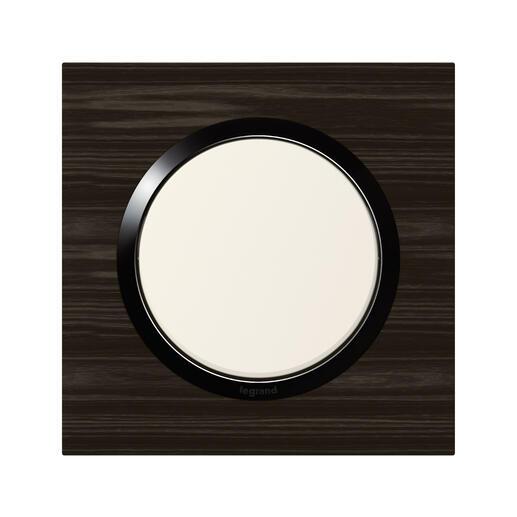 Plaque carrée dooxie 1 poste finition effet bois ébène avec bague noire brillante