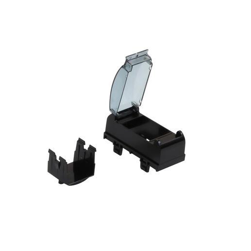 Support pour montage appareillage modulaire sur goulotte ou colonne à clippage direct - noir