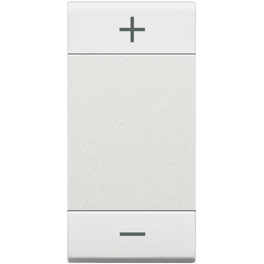 Manette MyHOME BUS Livinglight symbole + et - type bascule 1 module - blanc