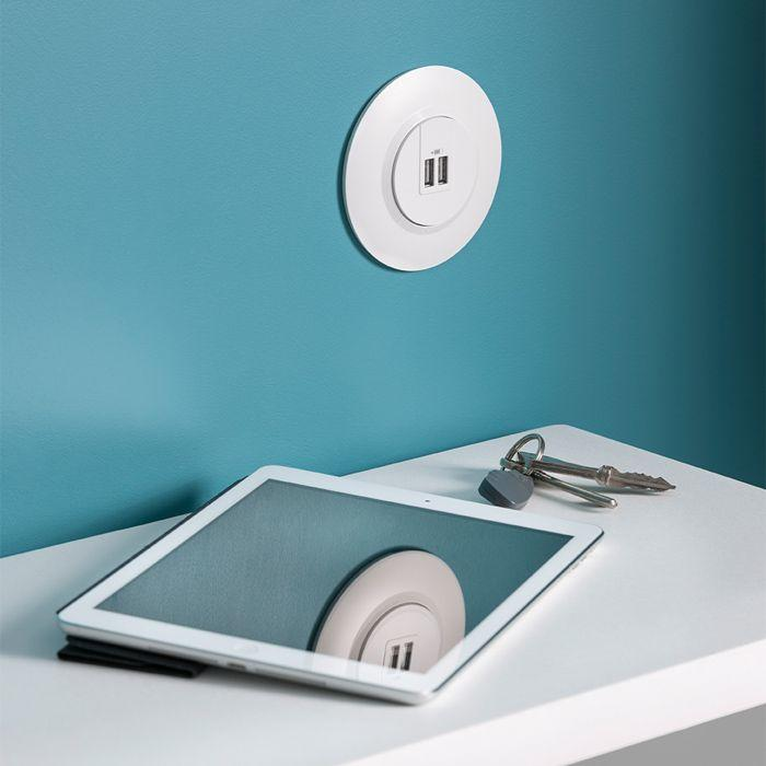 dooxie blanc rond double usb tablette 700x700