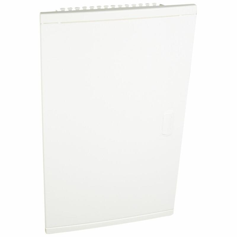 Coffret modulaire encastré 3 rangées 36+6 modules - avec porte isolante galbée blanche