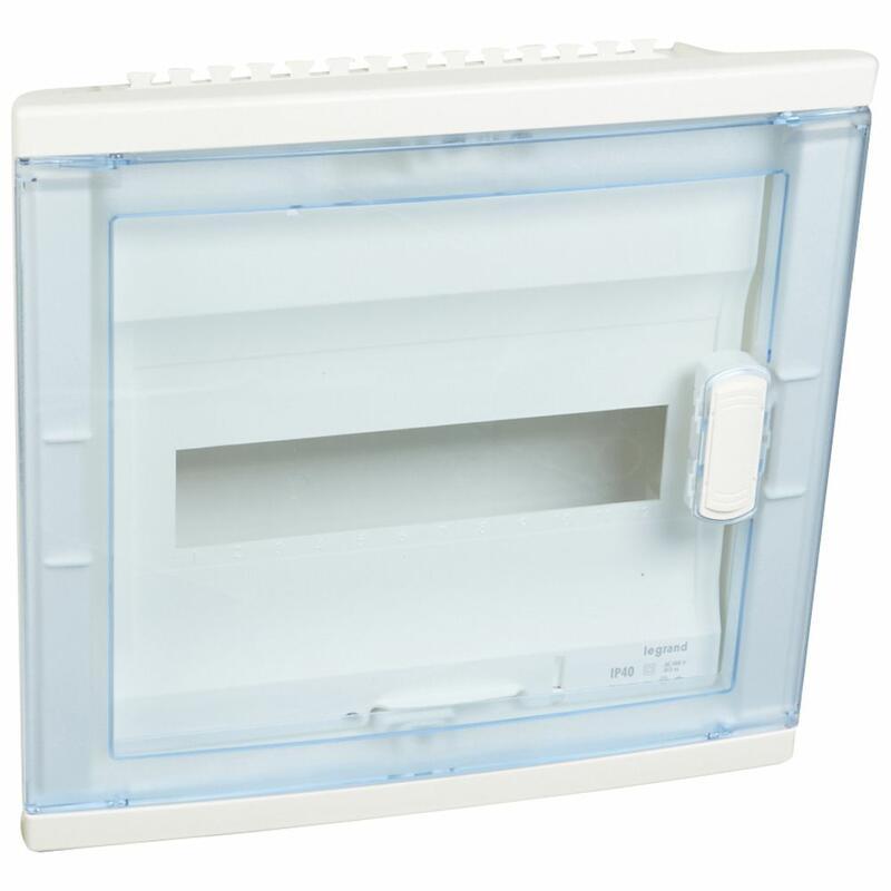 Coffret modulaire encastré 1 rangée 12+2 modules - avec porte isolante galbée transparente
