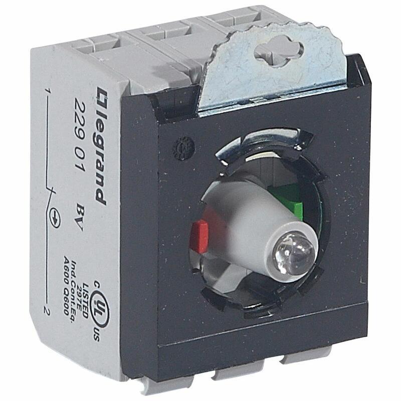 Sous-ensemble bloc pour tête lumineuse Osmoz raccordement à vis - 12V à 24V alternatif ou continu - NO+NF - rouge