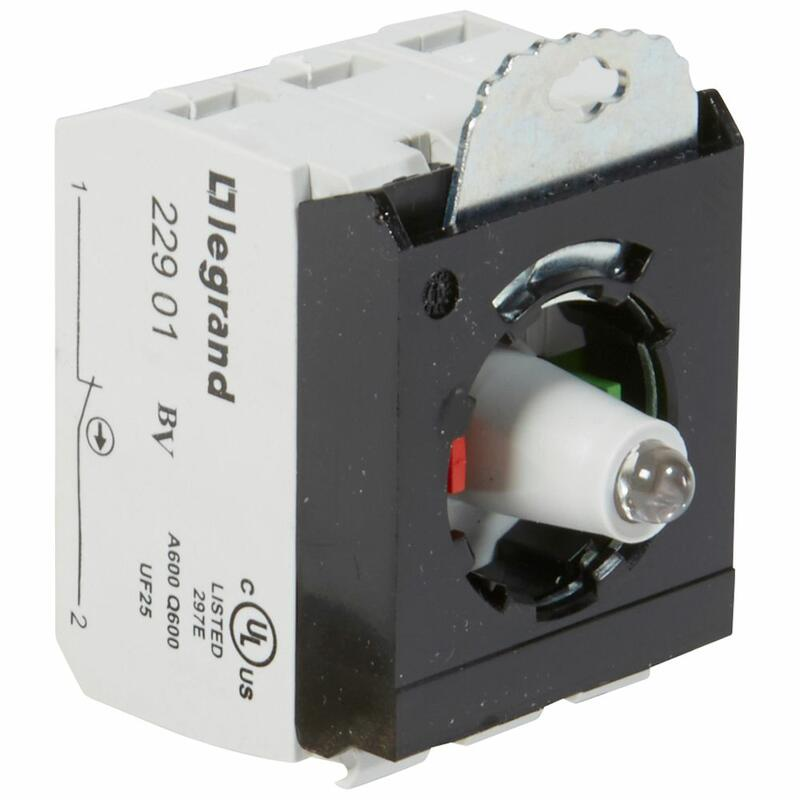 Sous-ensemble bloc pour tête lumineuse Osmoz raccordement à vis - 12V à 24V alternatif ou continu - NO+NF - vert