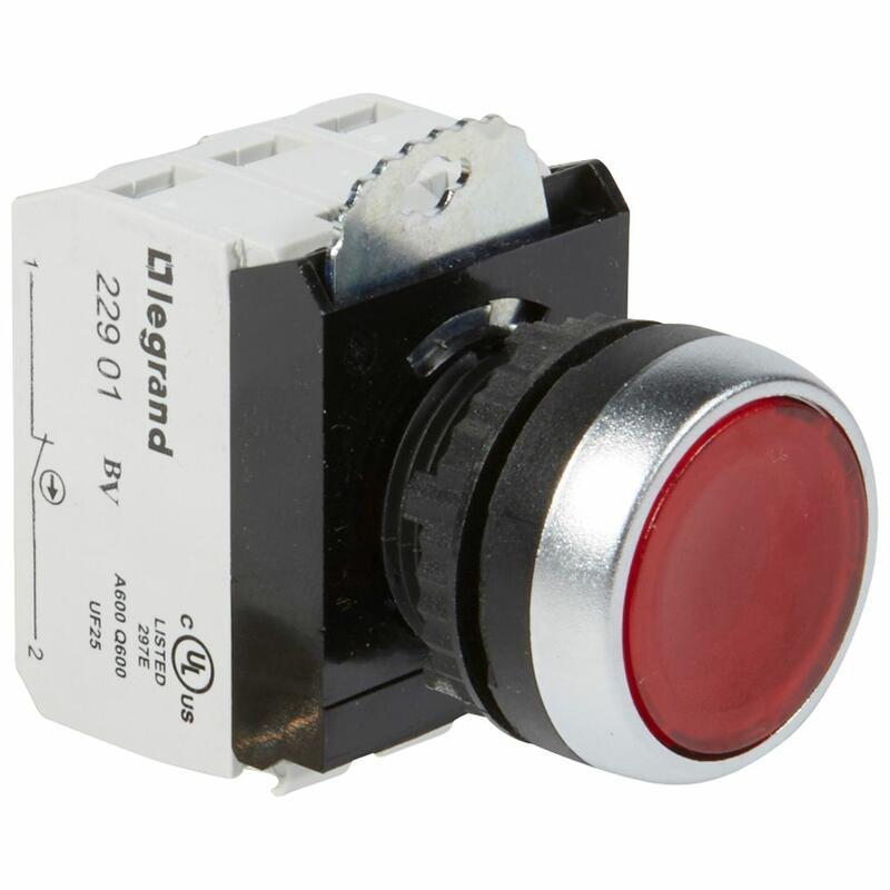 Bouton lumineux à impulsion affleurant IP69 Osmoz complet - rouge - 12V à 24V alternatif ou continu