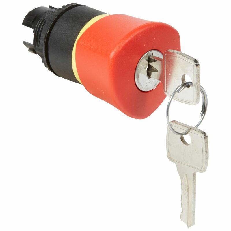 Coup de poing Ø40 n°455 à clé arrêt d'urgence IP69 Osmoz composable - rouge