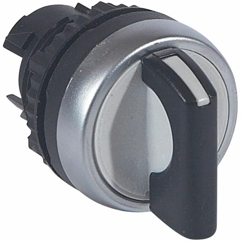 Bouton tournant non lumineux à manette noire IP69 Osmoz composable - 2 positions avec rappel 45° ( 0 à 12h )