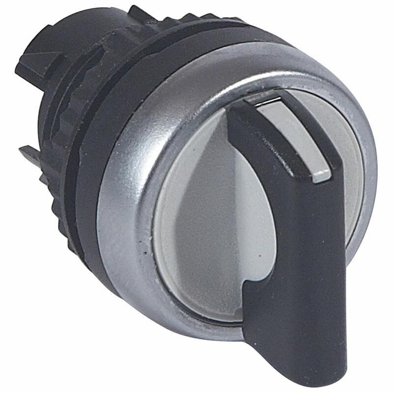 Bouton tournant non lumineux à manette noire IP69 Osmoz composable - 3 positions gauche rappel au centre 45°