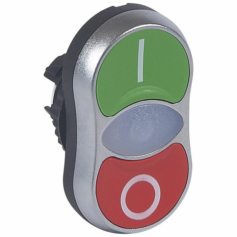 Tête double touche affleurante lumineuse IP66 Osmoz composable - vert et rouge