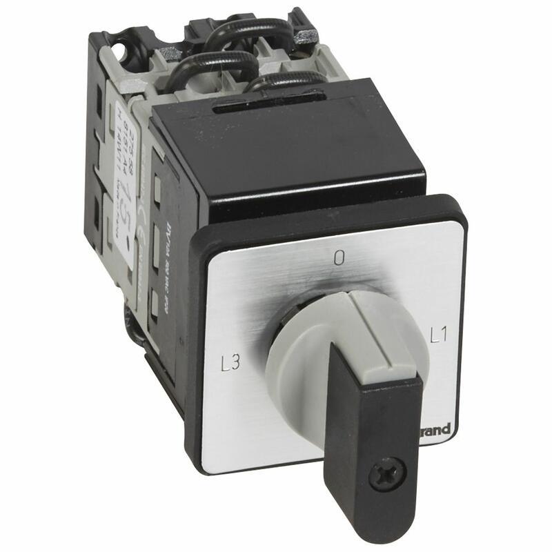 Commutateur à cames de mesure ampèremètre 3 TI avec point commun PR12 - 6 contacts - fixation centrale Ø22 sur porte